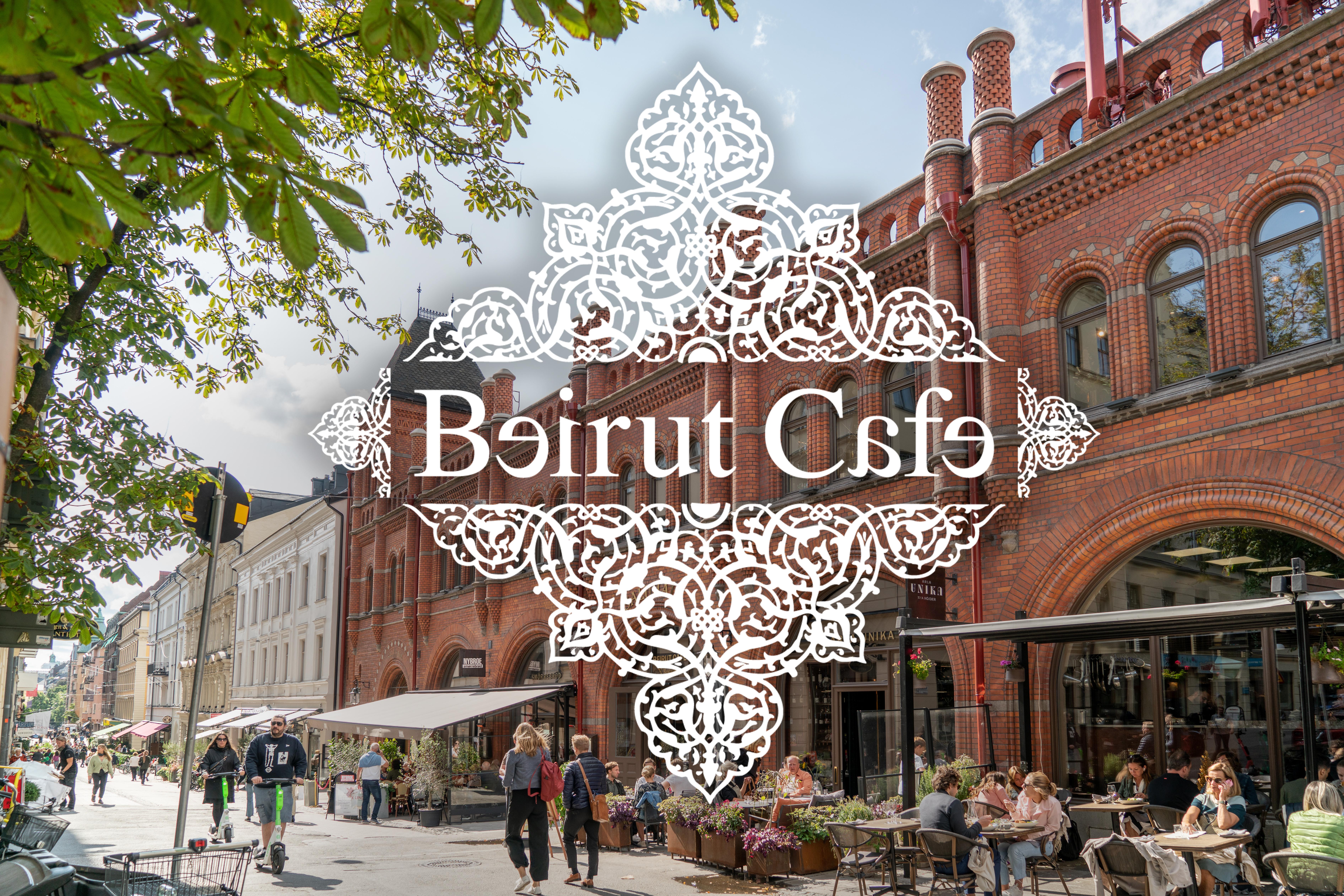 Östrermalms Saluhall exteriör med logotyp från Beirut Café